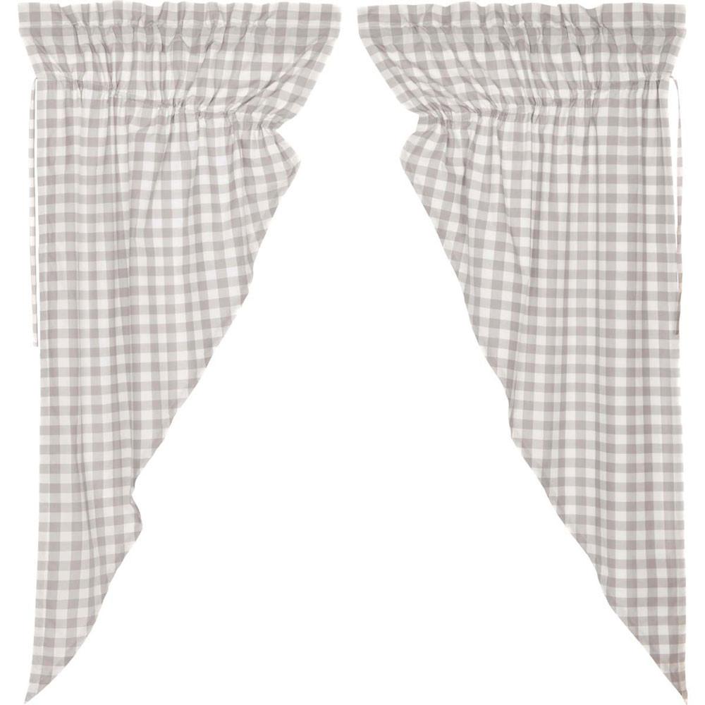 Annie Buffalo Grey Check Prairie Curtain Set By Vhc Brands