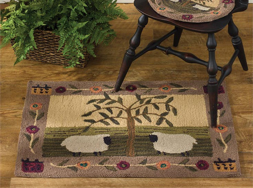 Willow and Sheep Hand-Hooked Rug
