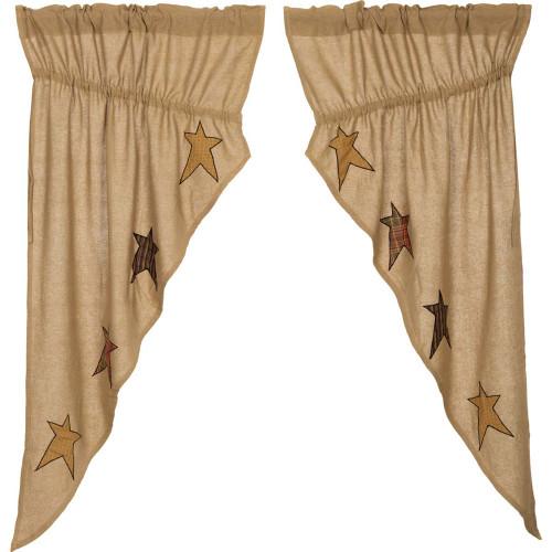 Stratton Burlap Applique Star Prairie Curtain Set