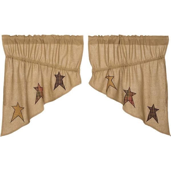 Stratton Burlap Applique Star Prairie Swag