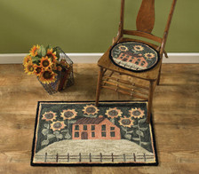 House and Sunflowers Hand-Hooked Rug