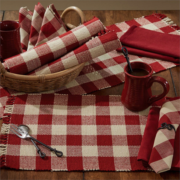 Wicklow Yarn Placemat Set - Garnet Red