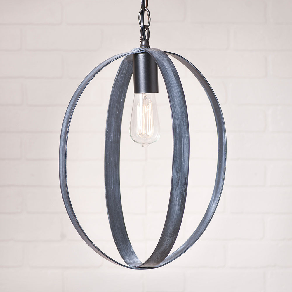 """Hanging Light Spheres: 16"""" Oval Sphere Pendant Light By Irvin's Country Tinware"""