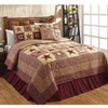 Colonial Star Burgundy King Quilt Set