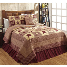 Colonial Star Burgundy Twin Quilt Set