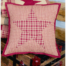"""Colonial Star Burgundy 16"""" Quilted Pillow Cover"""