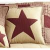 "Burgundy and Tan 16"" Quilted Star Pillow Cover"