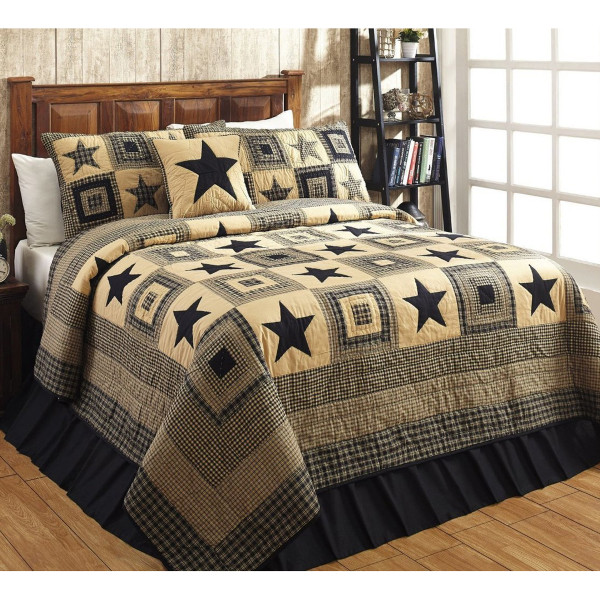 Colonial Star Black Luxury King Quilt Set