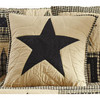 "Black and Tan 16"" Quilted Star Pillow Cover"