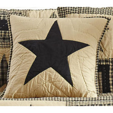 """Black and Tan 16"""" Quilted Star Pillow Cover"""