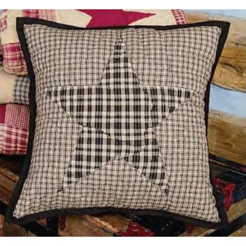 "Colonial Star Black 16"" Quilted Pillow Cover"