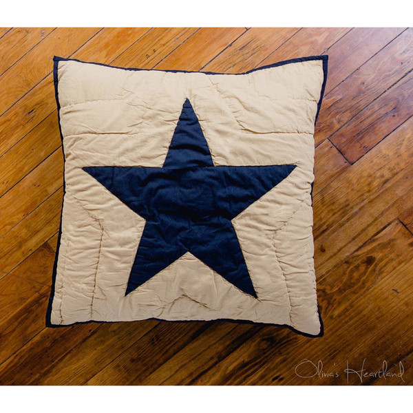 Colonial Star Black Quilted Euro Sham