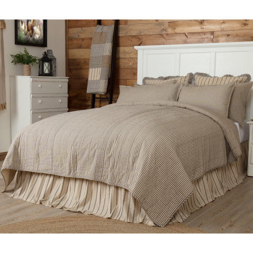 Sawyer Mill Ticking Stripe Twin Quilt Coverlet