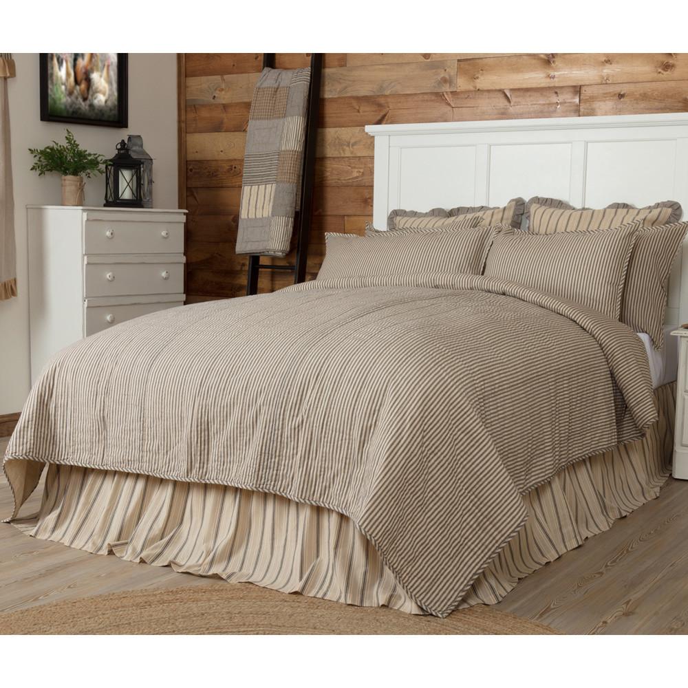 Sawyer Mill Ticking Stripe Queen Quilt Coverlet By Vhc Brands
