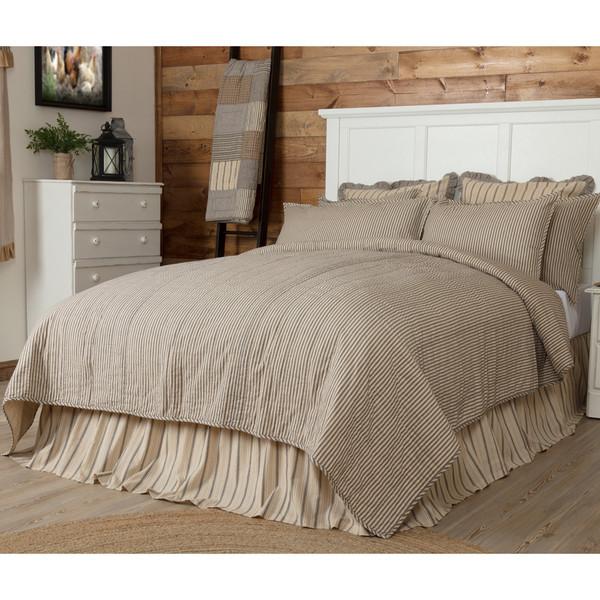 Sawyer Mill Ticking Stripe Queen Quilt Coverlet