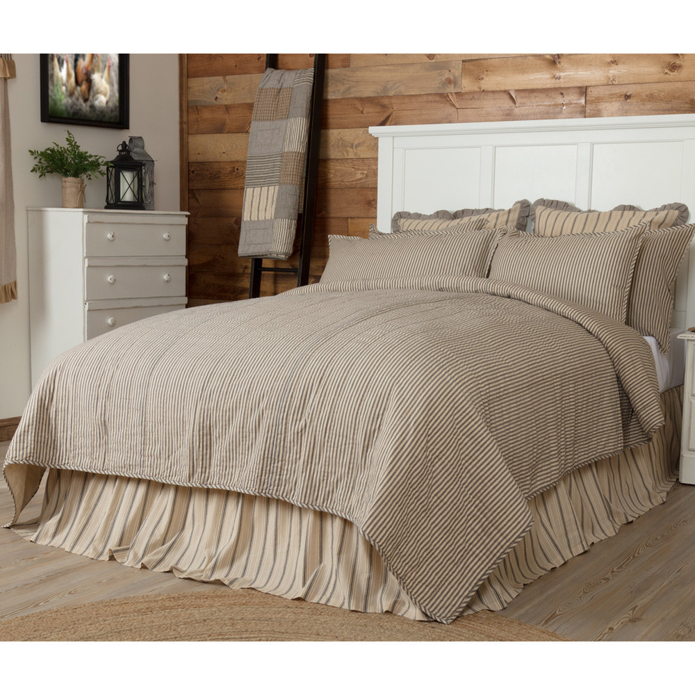 Sawyer Mill Ticking Stripe King Quilt Coverlet By Vhc Brands