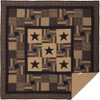 Black Check Star King Quilt - Flat