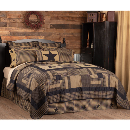 Black Check Star Luxury King Quilt