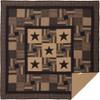 Black Check Star California King Quilt - Flat