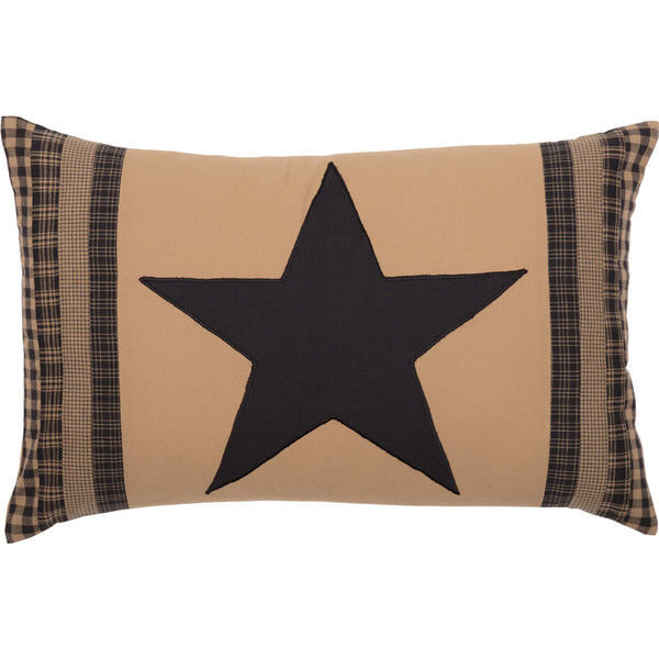 """Black Check Star Patch Pillow 14"""" x 22"""" - Front"""