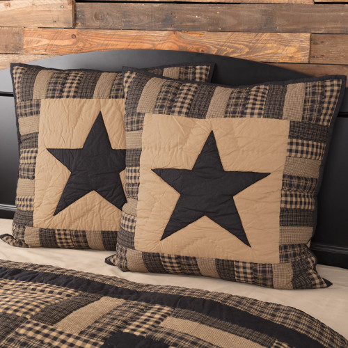 Black Check Star Quilted Euro Sham