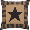 Black Check Star Quilted Euro Sham - Front