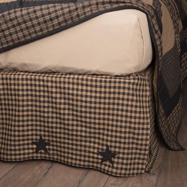 Black Check Star Bed Skirt