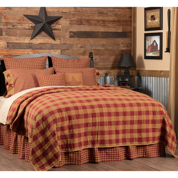 Burgundy Check Twin Quilt Coverlet