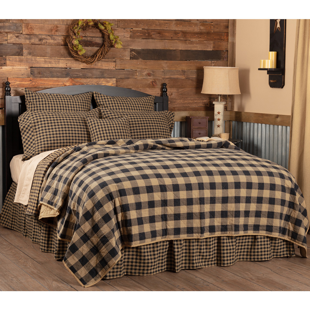 Black Check Queen Quilt Coverlet By Vhc Brands