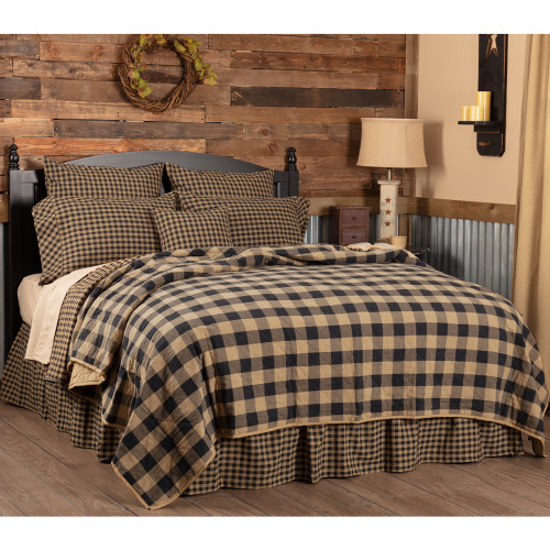 Black Check Queen Quilt Coverlet