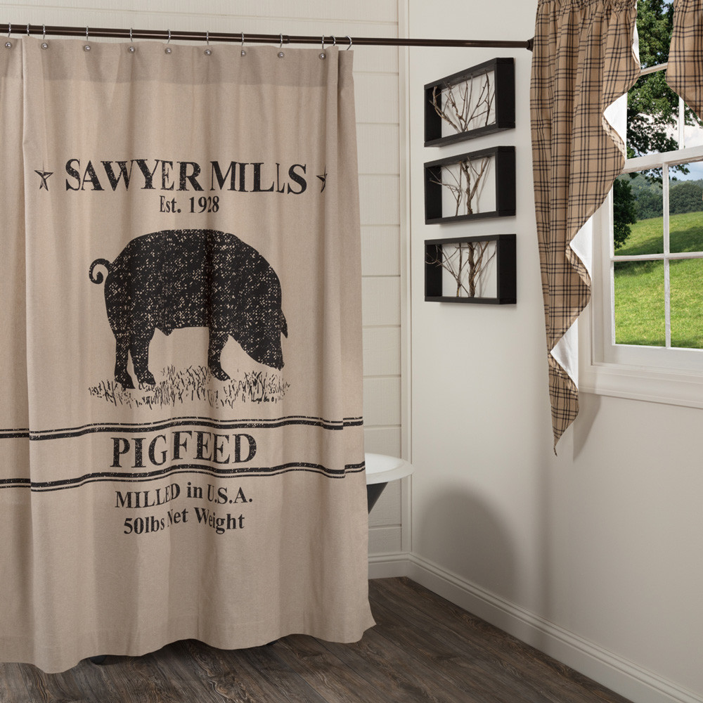 Sawyer Mill Pig Shower Curtain By VHC Brands