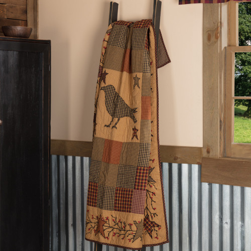 Heritage Farms Applique Crow and Star Quilted Throw