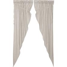 Hatteras Seersucker Blue Long Prairie Curtain Set