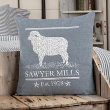 """Sawyer Mill Blue Lamb Pillow 18"""" x 18"""""""