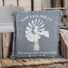 """Sawyer Mill Blue Windmill Pillow 18"""" x 18"""""""