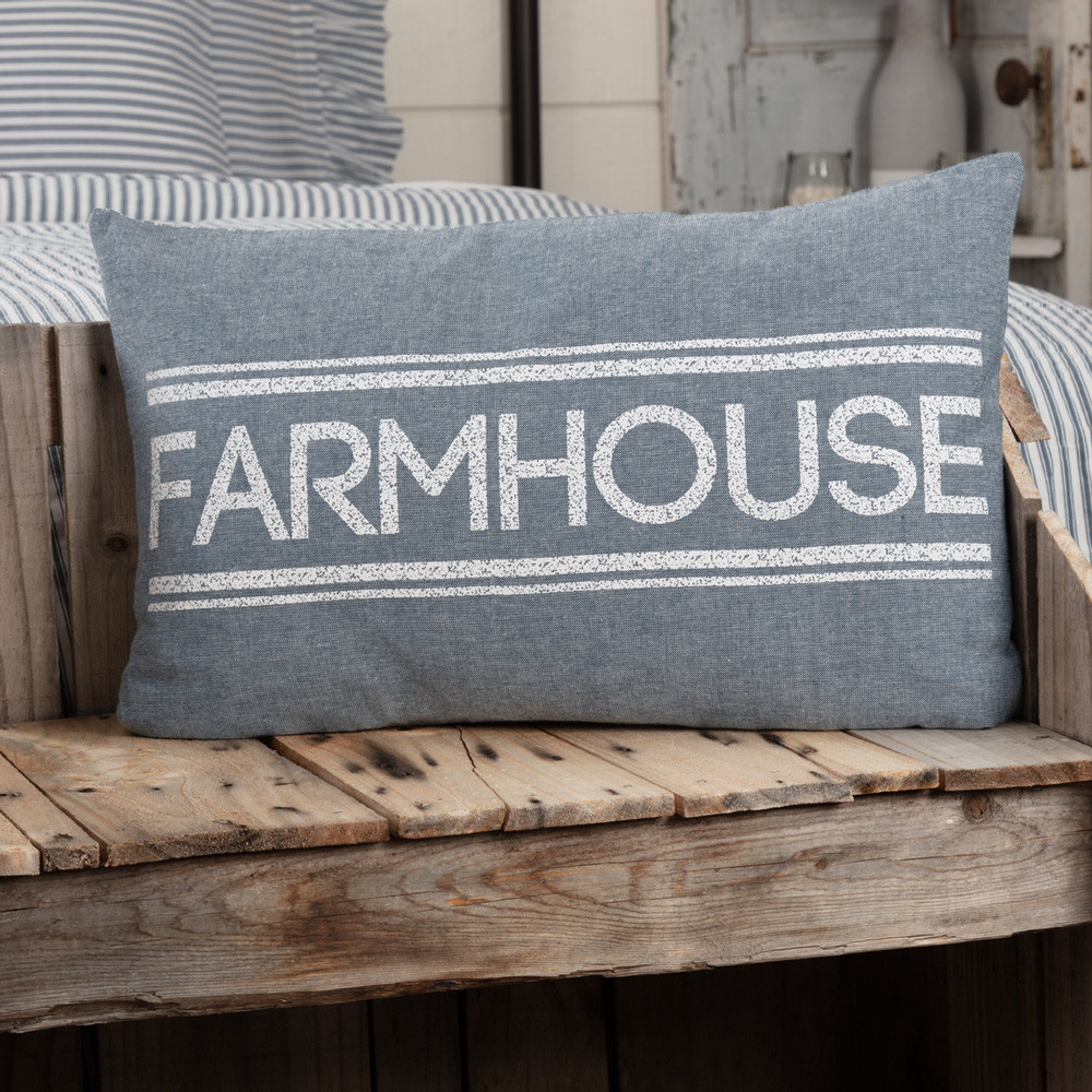 Sawyer Mill Blue Farmhouse Pillow 14 Quot X 22 Quot By Vhc Brands