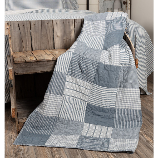 Sawyer Mill Blue Block Quilted Throw