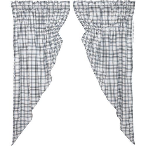 Sawyer Mill Blue Plaid Prairie Curtain Set