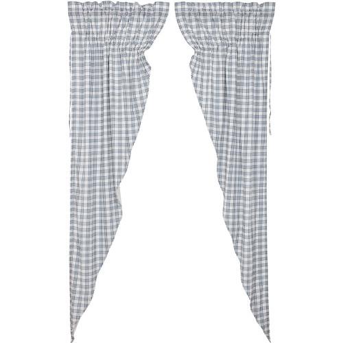 Sawyer Mill Blue Plaid Long Prairie Curtain Set
