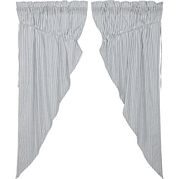 Sawyer Mill Blue Ticking Stripe Prairie Curtain Set