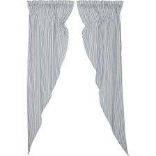 Sawyer Mill Blue Ticking Stripe Long Prairie Curtain Set