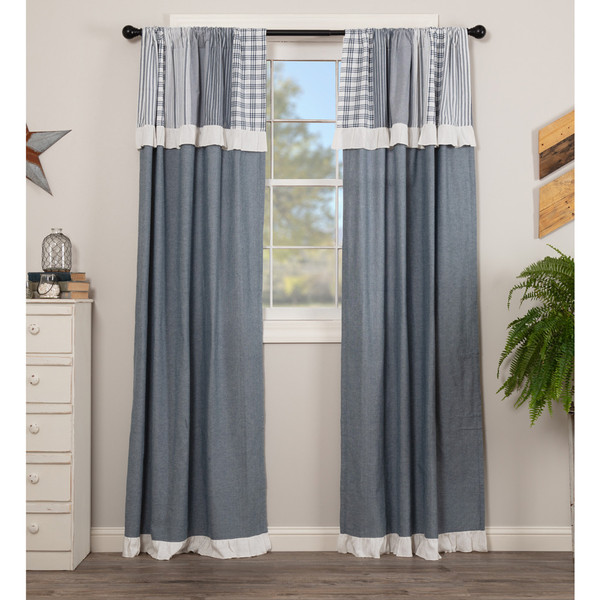 Sawyer Mill Blue Panel Set with Attached Valance