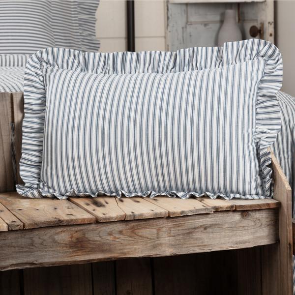 "Sawyer Mill Blue Ticking Stripe Pillow 14"" x 22"""