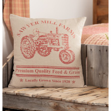 """Sawyer Mill Red Tractor Pillow 18"""" x 18"""""""