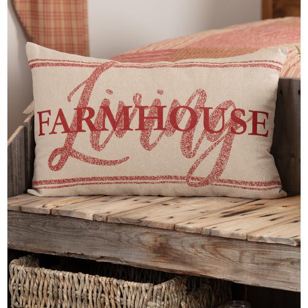 "Sawyer Mill Red Farmhouse Living Pillow 14"" x 22"""
