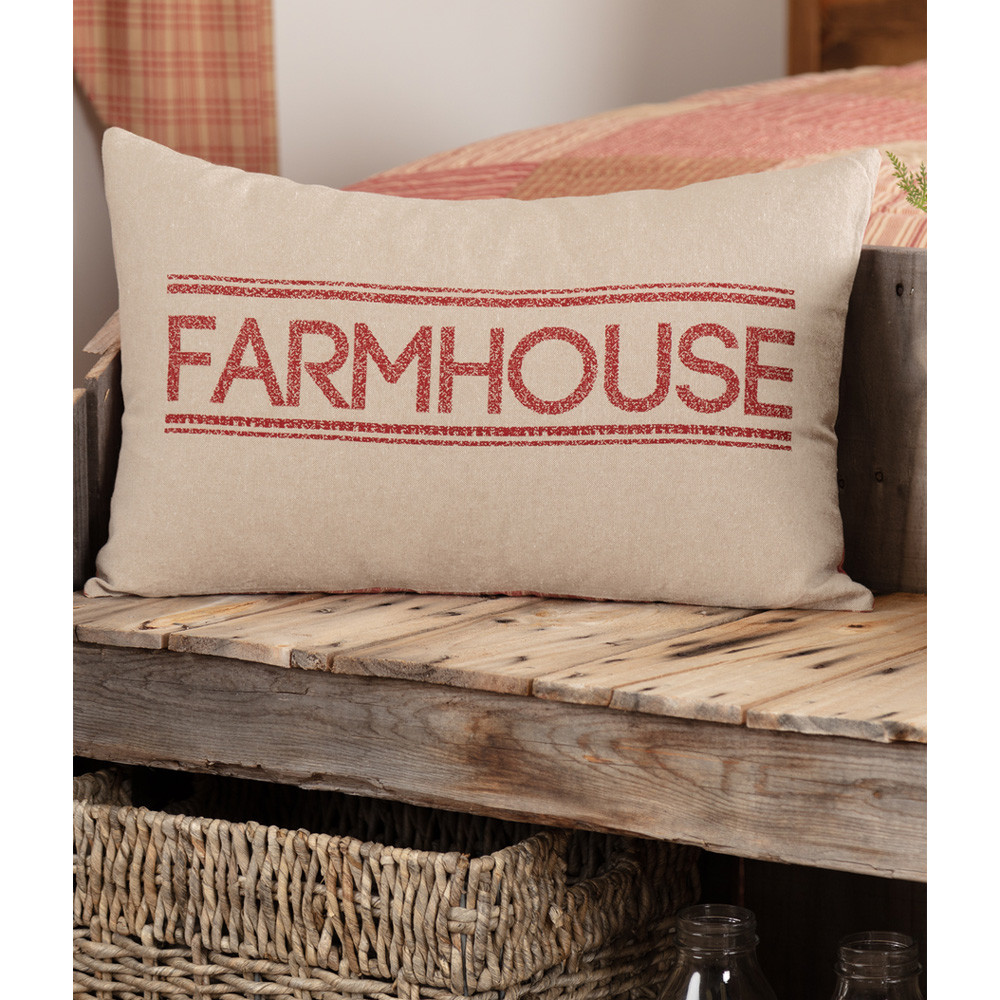 Sawyer Mill Red Farmhouse Pillow 14 Quot X 22 Quot By Vhc Brands