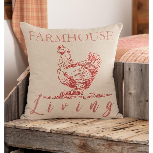 "Sawyer Mill Red Farmhouse Living Pillow 18"" x 18"""
