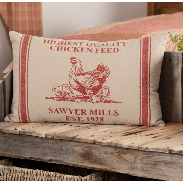 """Sawyer Mill Red Hen and Chicks Pillow 14"""" x 22"""""""