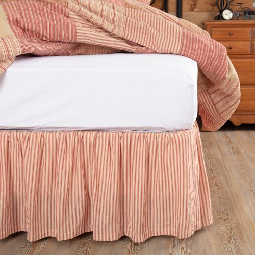 Sawyer Mill Red Ticking Stripe Bed Skirt