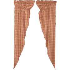 Sawyer Mill Red Plaid Long Prairie Curtain Set